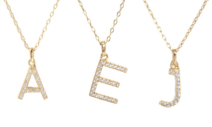 Cubic zirconia initial pendant light catalogue light ideas cubic zirconia initial pendants groupon goods cubic zirconia initial pendants in 18k gold plated sterling silver aloadofball Image collections