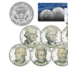 US Money Banknotes Portrait Designs on JFK Half-Dollars (7-Piece Set)