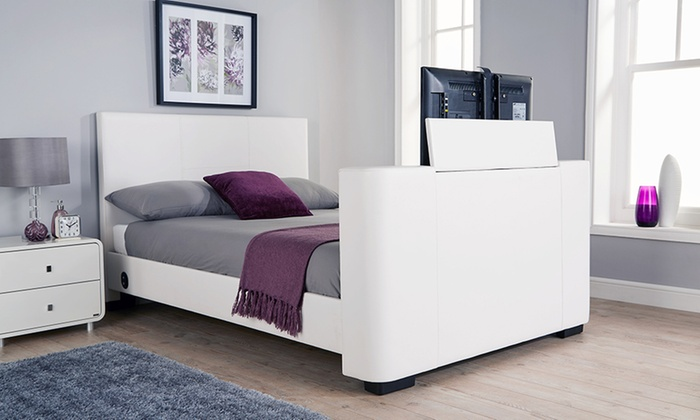 Newark Double or King Size Electric TV Bedstead with Optional Bonnell Mattress