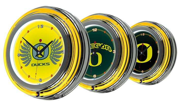 University Of Oregon Neon Clocks Groupon Goods