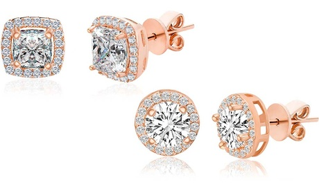 Lesa Michele Rose Gold Plated Sterling Silver Halo Studs with Swarovski Crystals