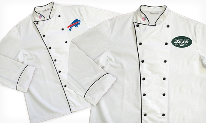 NFL AFC East Classic or Premium Chef Coats: NFL AFC East Classic or Premium Chef Coats (Up to 64% Off). Multiple Teams Available. Free Shipping and Returns.