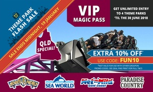 Village Roadshow Theme Parks: $139 Unlimited Entry to Warner Bros. Movie World, Sea World, Wet'n'Wild Gold Coast + Paradise Country - QLD Locals Only