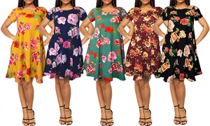 Women's Floral T-Shirt Dress with Side Pockets. Plus Sizes Available.