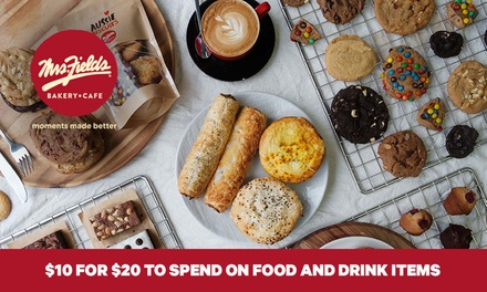 Mrs. Fields Bakery Cafe: $10 for $20 to Spend on Food and Drink Items, 40 Locations Nationwide
