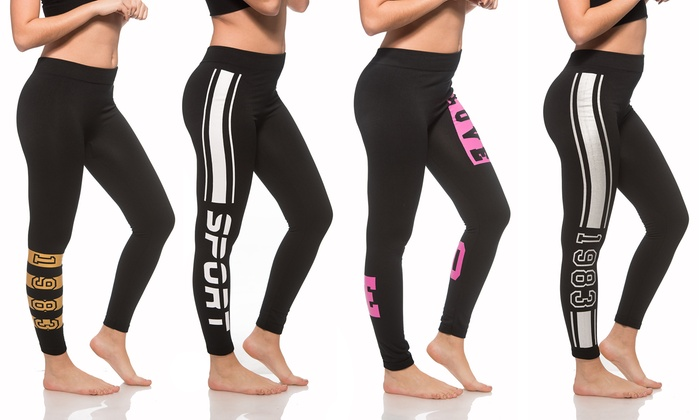 c1d528a99e3014 Coco Limon Women's Printed Fleece-Lined Leggings (4-Pack) | Groupon