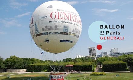 1 ou 2 places pour enfant ou/et adulte dès 4,50 € à bord du Ballon Generali