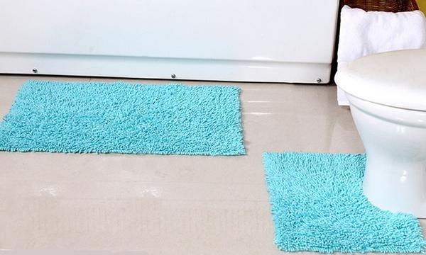 Cotton Tumble And Twist Bath Mat Set In
