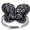 Hematite Crystal Butterfly Ring with Swarovski Elements
