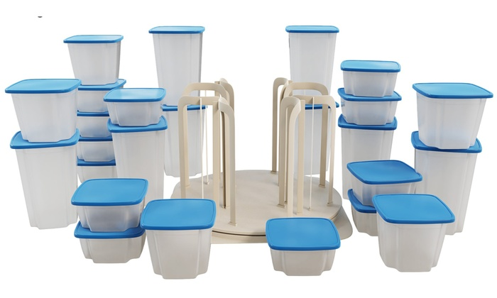 Chef Buddy 49 Piece Swirl Around Food Storage Organizer Blue