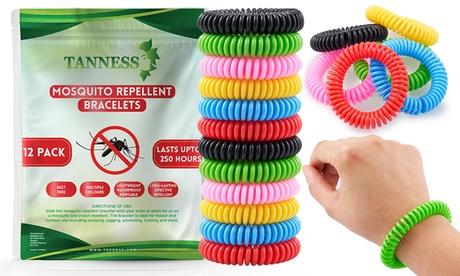 1, 2 ou4 sets de 12 bracelets anti-moustiques