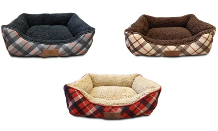 AKC Plaid Cuddler Dog Bed with Snuggly Sherpa