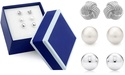 3 Pairs Sterling Silver Stud Earring Set in Box