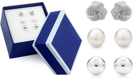 Sterling Silver Stud Earring Set in Box (3 Pairs)