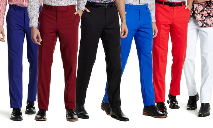 Suslo Couture Men's Slim Fit Sateen Stretch Dress Pants