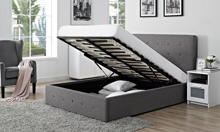 Verona Fabric Storage Ottoman Bed with Optional Mattress ...