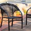 Malibu Black Wicker Outdoor Chair (2-Pack)