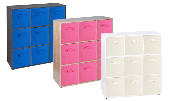Wooden Nine-Cube Storage Unit with Non-Woven Drawers