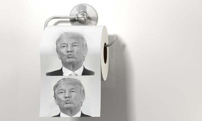 Groupon Goods Global GmbH: 1, 2, 3 ou 4 rouleaux de papier toilette avec impression de Donald Trump