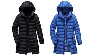 U2Wear Women's Zip Front Puffer Coat with Hood