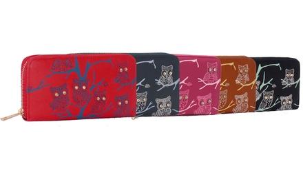 Geldbörse mit Allround-Reißverschluss und Eulen-Desing in der Farbe nach Wahl