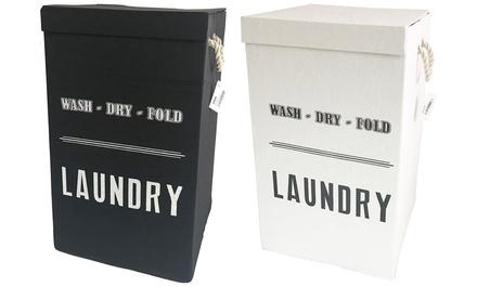 Fabric Folding Laundry Basket in Black or White