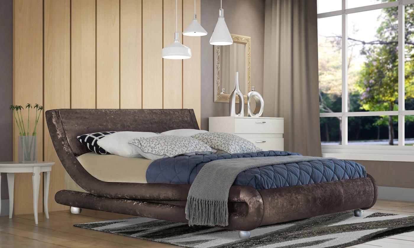 Crushed Velvet Prague Bed Frame with optional LED Light and Mattress