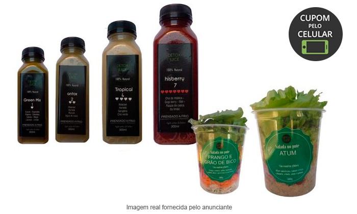 Detox Juice - Brasília: Detox Juice - Kit Dia Detox: 1 kit Salatox (2 saladas no pote + 4 sucos detox)