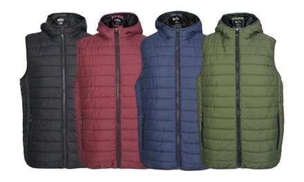 LeeHanTon Men's Solid Zippered Hooded Vest