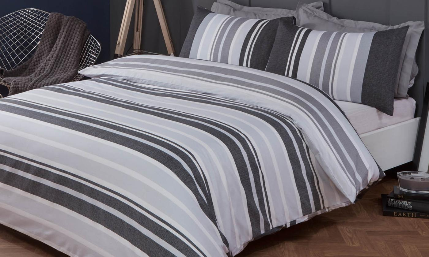 Stripes Reversible Duvet Set from £10.99 (72% OFF)