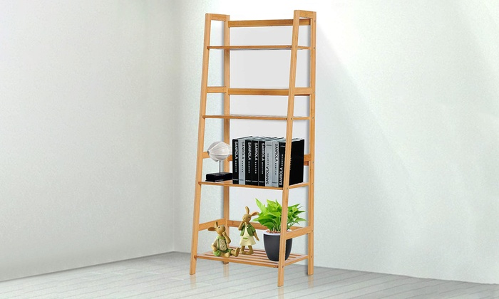 HOMCOM Four-Tier Bamboo Ladder Bookcase Unit