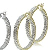 Silver and Gold Diamond Accent Hoop Earrings Set