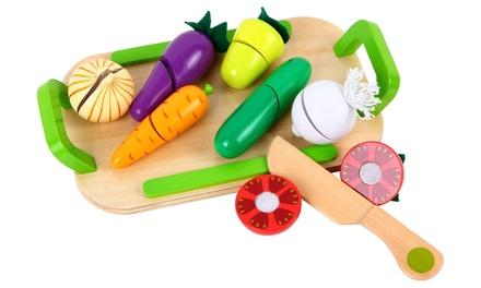 Lelin Wooden Cutting Vegetable Play Set