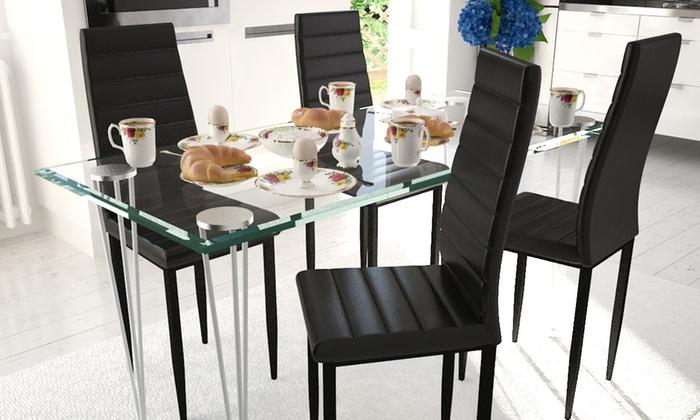 Sedie Per Tavolo Di Vetro.Set Da 4 O 6 Sedie Con Tavolo Groupon Goods