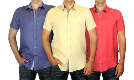Harve Benard 100% Linen Short-Sleeve Shirts
