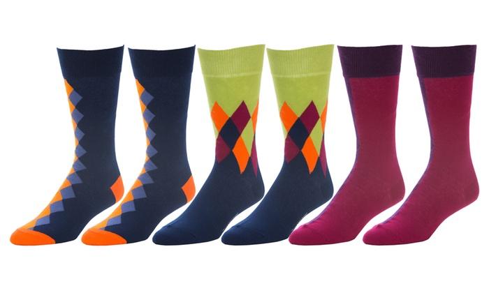 Strollegant Men's Casual Multicolor Crew Socks (6-Pack)
