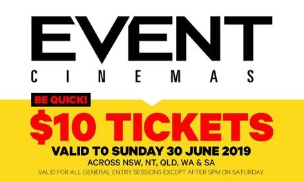 Event Cinemas: GA Ticket Use by Sun 30 June 2019