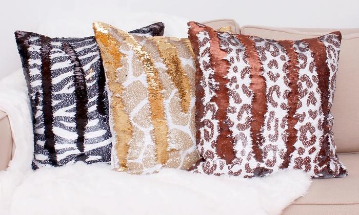 Reversible Animal Pillow : Animal-Print Sequin Pillows Groupon Goods
