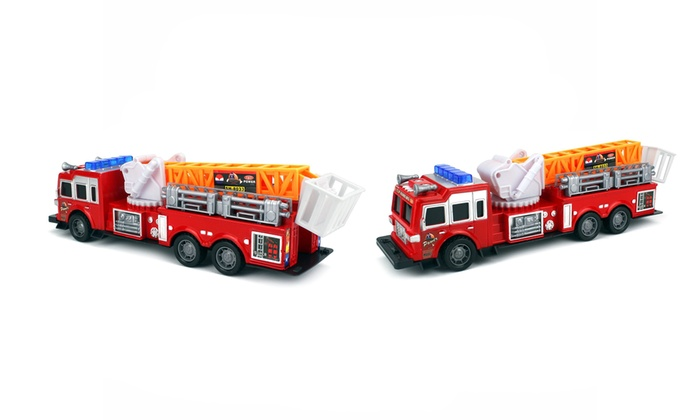 Top-Rank Ready-to-Run Toy Fire Truck with 360° Rotating Crane