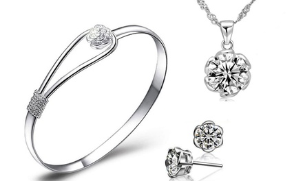 Carnation ThreePiece Crystal Jewellery Set with Crystals from Swarovski®
