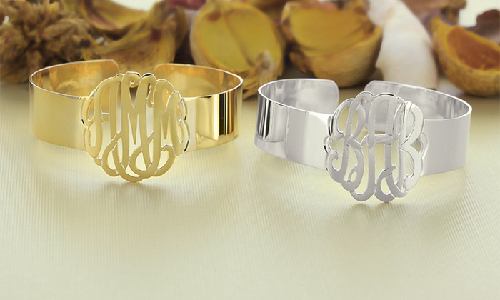 Personalized Monogram Cuff Bracelets: Personalized Monogram Cuff Bracelets. Multiple Finishes Available from $39.99–$44.99.