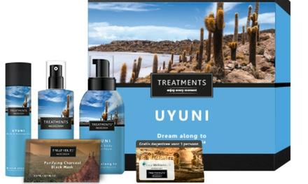 Entree bij een sauna naar keuze en een wellnessgiftbox met verzorgingsproducten van TREATMENTS bij je thuis bezorgd