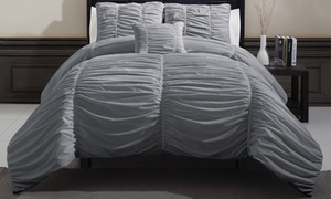 4-piece Ruched Oversized Comforter Set