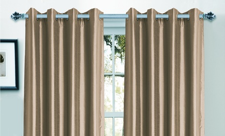 Bella Luna Extra-Wide Width Faux Silk Blackout Pair of Curtains