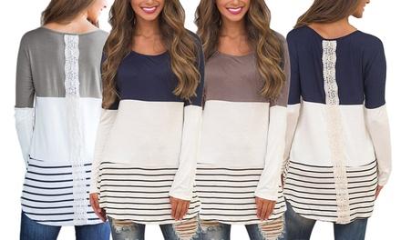 1x oder 2x Damen-Tunika mit Spitze am Rücken in der Farbe und Größe nach Wahl (Sie sparen: 57%)