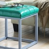 Newman Modern Leather and Metal Cube Ottoman