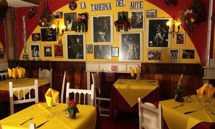 Espectáculo de cante flamenco y menú andaluz con opción a copa para 2 o 4 personas desde 49,95 € en La Taberna del Arte
