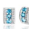 Angelique Paris 1.75 CTTW Lab-Created Blue Topaz & CZ Hoop Earrings
