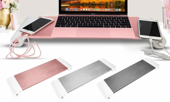 Aluminium Space-Saving Desktop Organiser with Four USB Ports