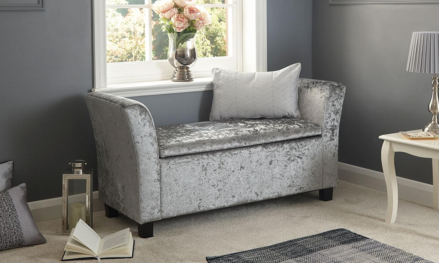 Crushed Velvet Ottoman Bench or Window Seat (£69.98)